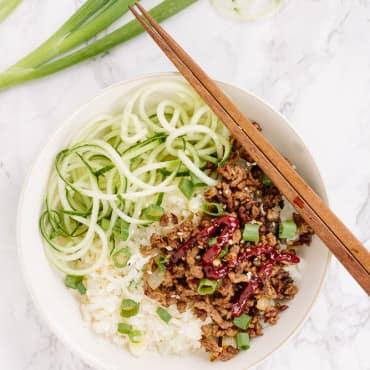 Korean Beef Rice Bowls with Spiralized Cucumbers
