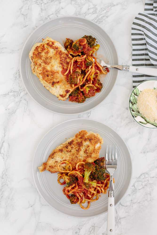 Gluten Free Chicken Milanese with Spiralized Broccoli