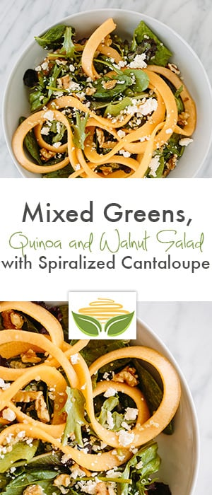 Mixed Greens, Quinoa and Walnut Salad with Spiralized Cantaloupe