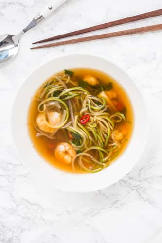 Tom Saab Goong with Spiralized Zucchini (Spicy Clear Soup with Shrimp)