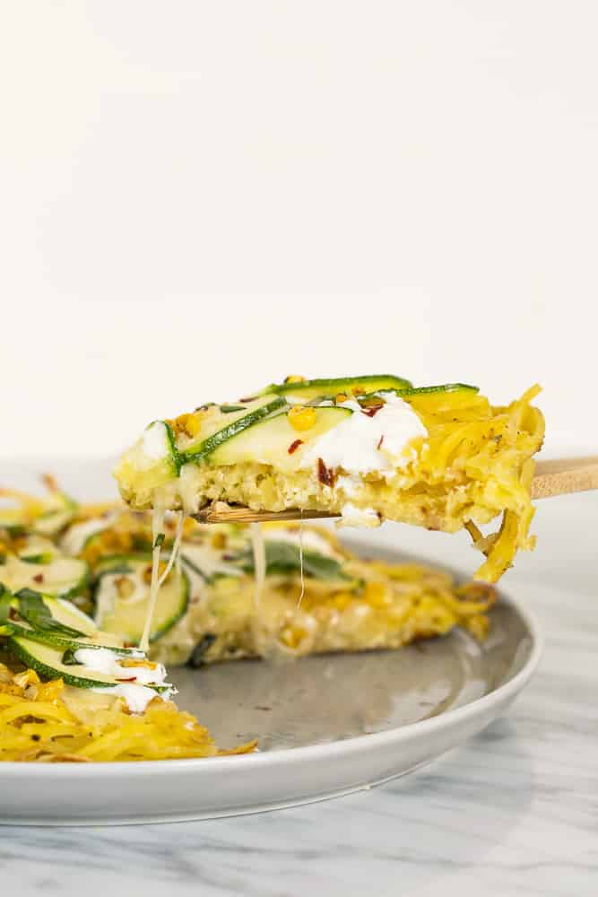 Spiralized Potato and Zucchini Pizza Bianca with Charred Corn