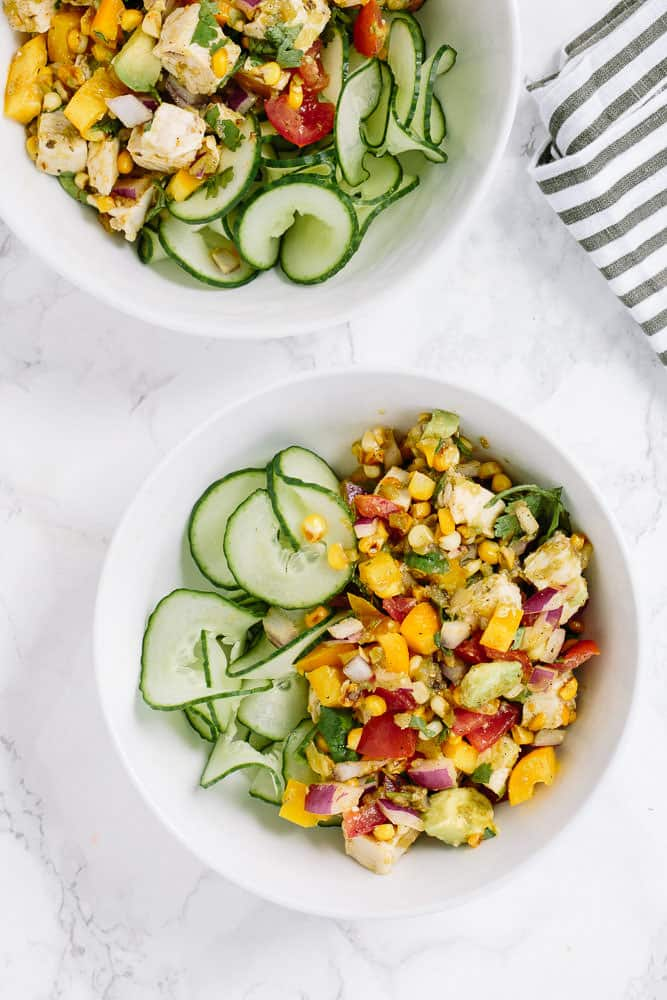 Summer Chopped Chicken Salad with Spiralized Cucumbers and Salsa Verde