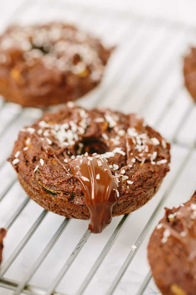 Gluten-Free Chocolate Zucchini Noodle Donuts with Coconut-Chocolate Glaze
