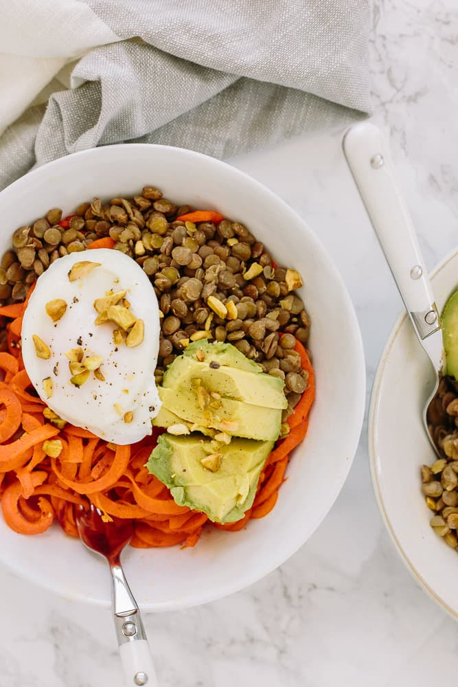 Spiralized Carrot and Lentil Bowl with Avocado and Poached Egg