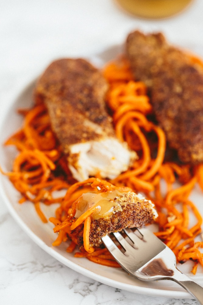 Flaxseed Crusted Chicken Tenders with Spiralized Sweet Potatoes