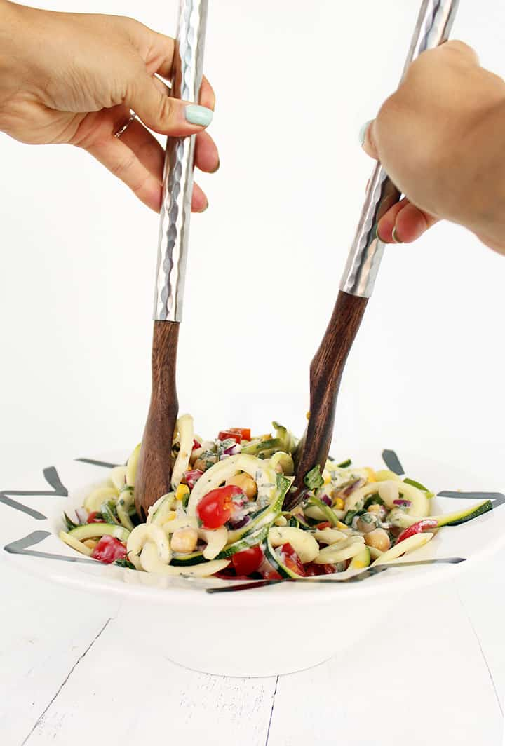 Summer Zucchini Pasta Salad with Greek Yogurt-Herb Dressing