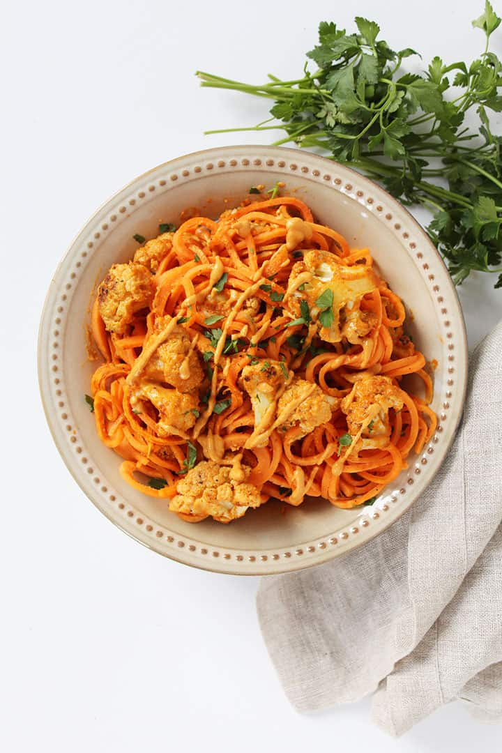 Vegan Buffalo Cauliflower with Spiralized Sweet Potato Noodles