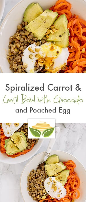 Spiralized Carrot & Lentil Bowl with Avocado and Poached Egg