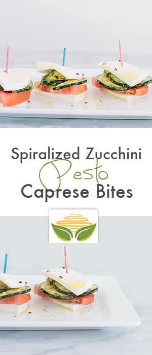 Spiralized Zucchini Pesto Caprese Bites