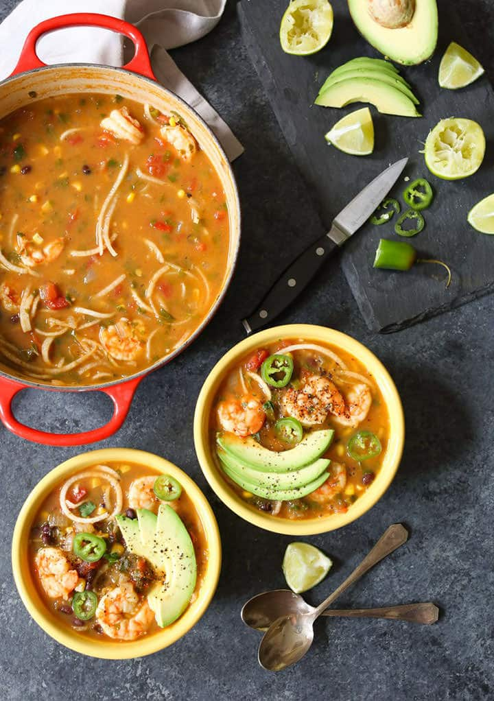 Spicy Jicama Tortilla Soup with Shrimp