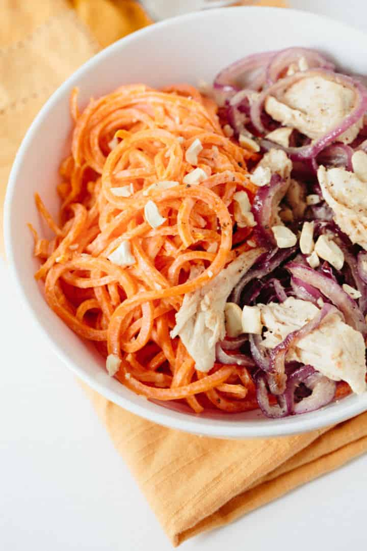 Tahini Chicken and Carrot Noodle Bowl