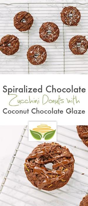 Spiralized Chocolate Zucchini Donuts with Coconut Chocolate Glaze