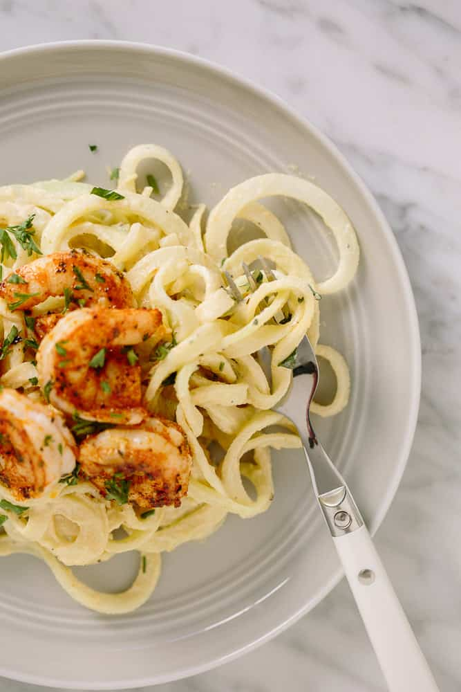 Spiralized Kohlrabi with Vegan Alfredo and Cajun Shrimp