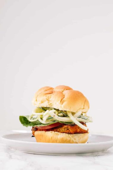 Vegan Buffalo Cauliflower Steak Sandwiches with Spiralized Apple-Cucumber Slaw