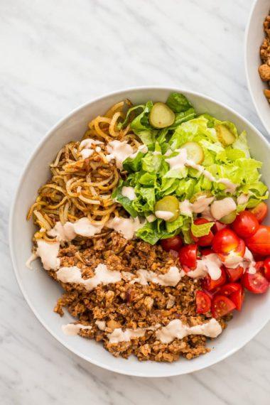 Vegetarian Hamburger Bowls with Spiralized Potatoes
