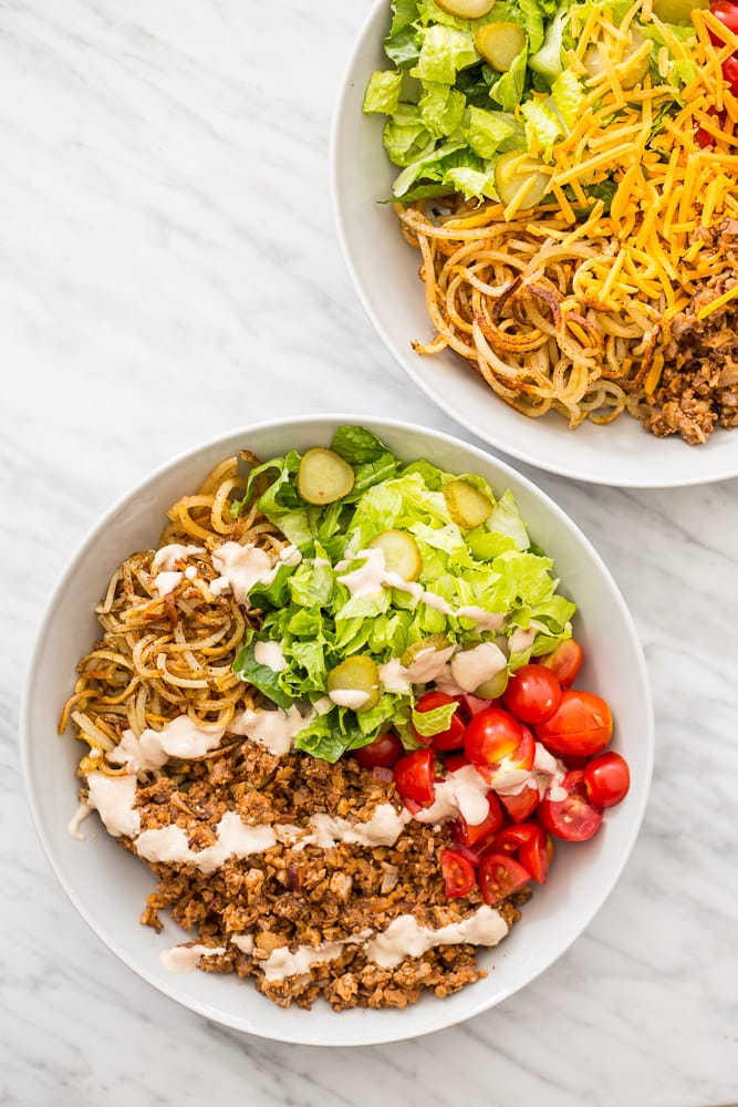 Vegetarian Hamburger Bowls with Spiralized Potatoes