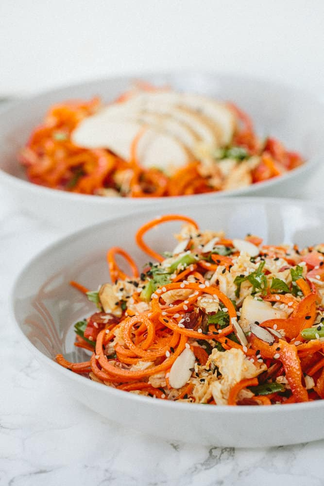 Soy Ginger Chicken Spiralized Salad