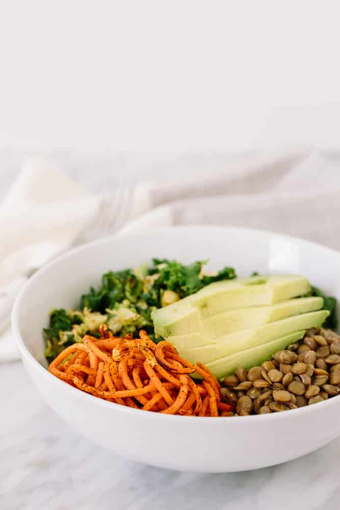 Brussels Sprouts, Kale, and Lentil Sweet Potato Noodle Bowl