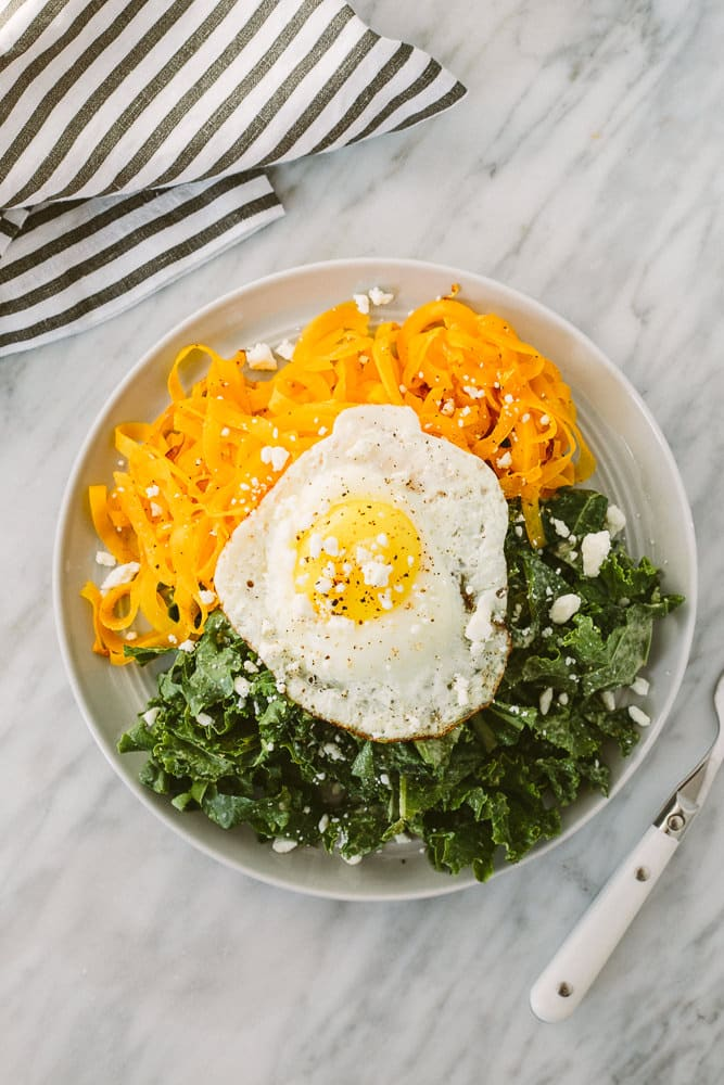 Tahini Kale Salad with Spiralized Butternut Squash and Feta