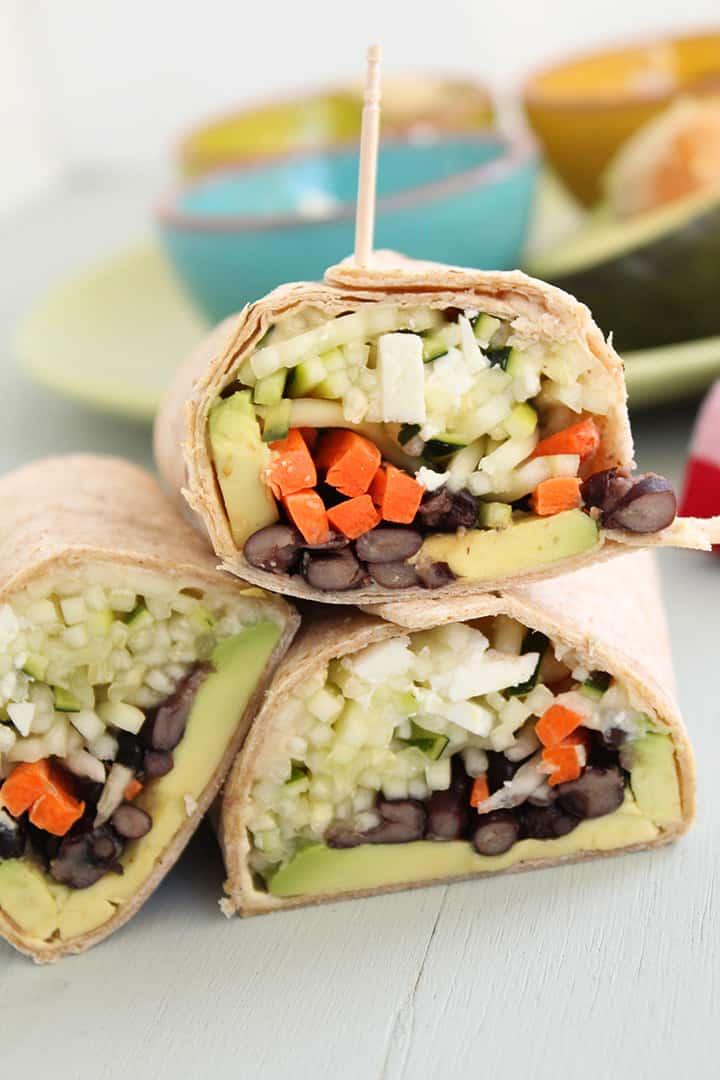 Crunchy Zucchini Noodle Wrap with Feta & Avocado