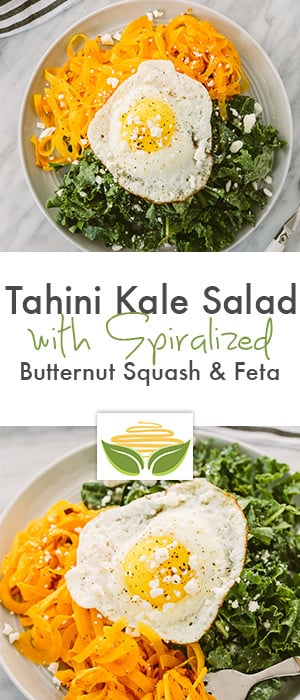 tahini kale salad with spiralized butternut squash & feta