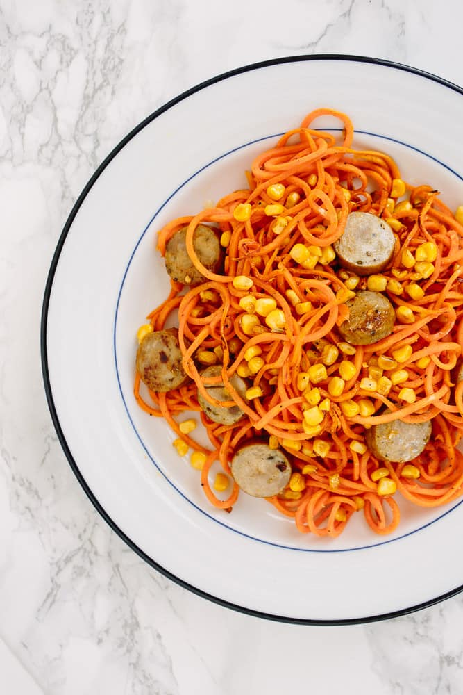 SWEET POTATO PASTA WITH CHICKEN SAUSAGE AND CORN