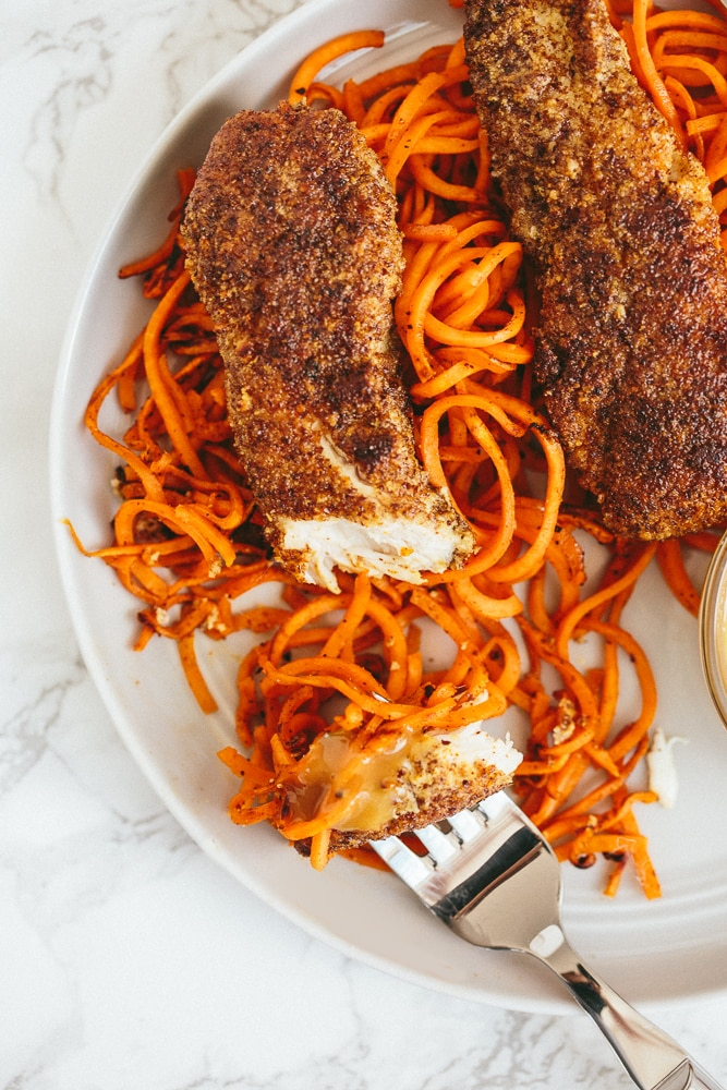 Flaxseed Crusted Chicken Tenders with Spiralized Sweet Potato