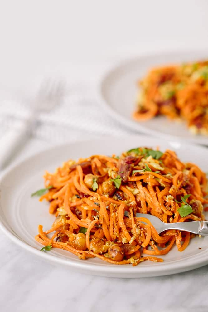 Chickpea-Bacon Carbonara with Spiralized Sweet Potatoes