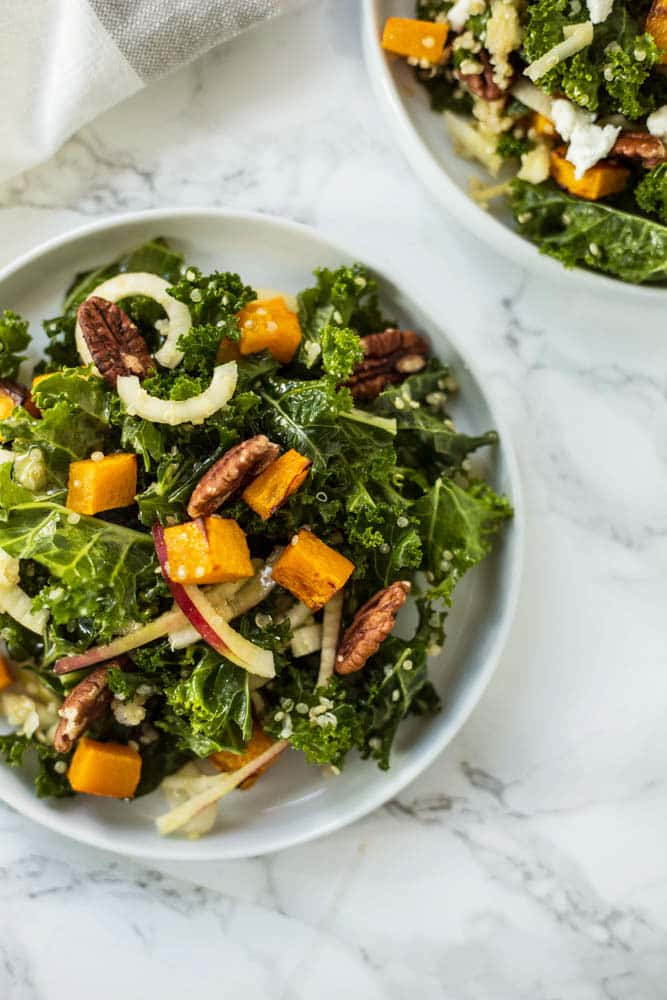 Autumn Kale and Quinoa Salad with Spiralized Apples