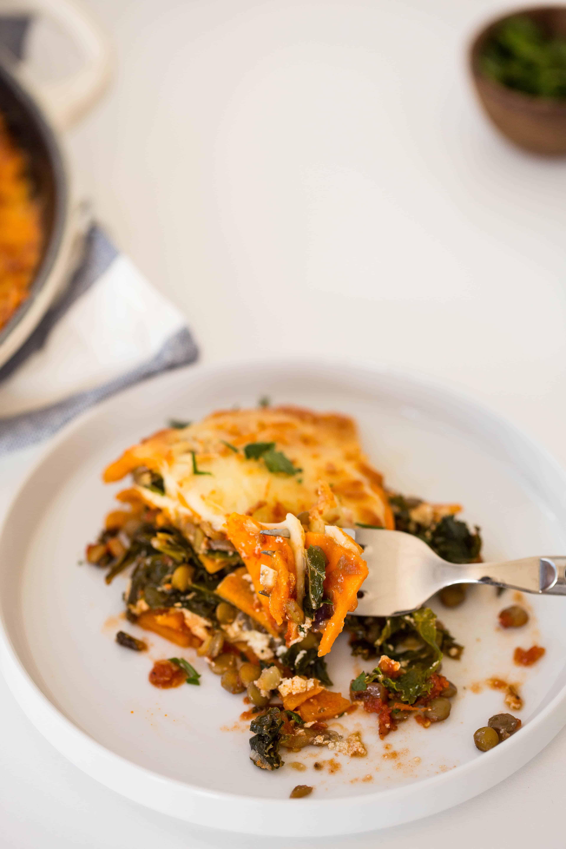 Sweet Potato, Kale and Lentil Lasagna
