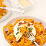 Butternut Squash Noodles with Pancetta and Poached Egg