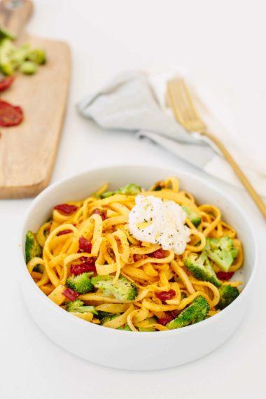 Broccoli and Sundried Tomato Rutabaga Pasta with Ricotta