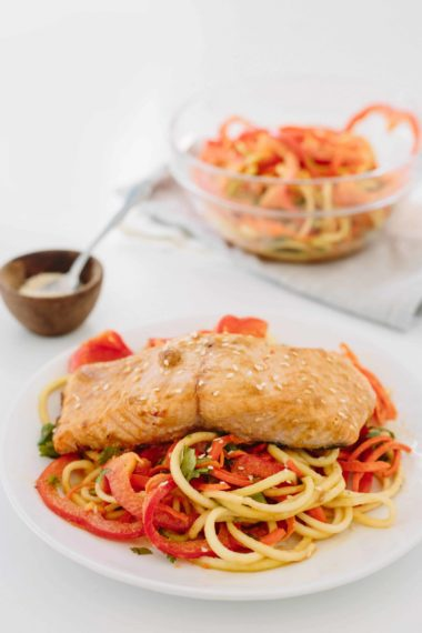 Sesame Salmon with Spiralized Slaw