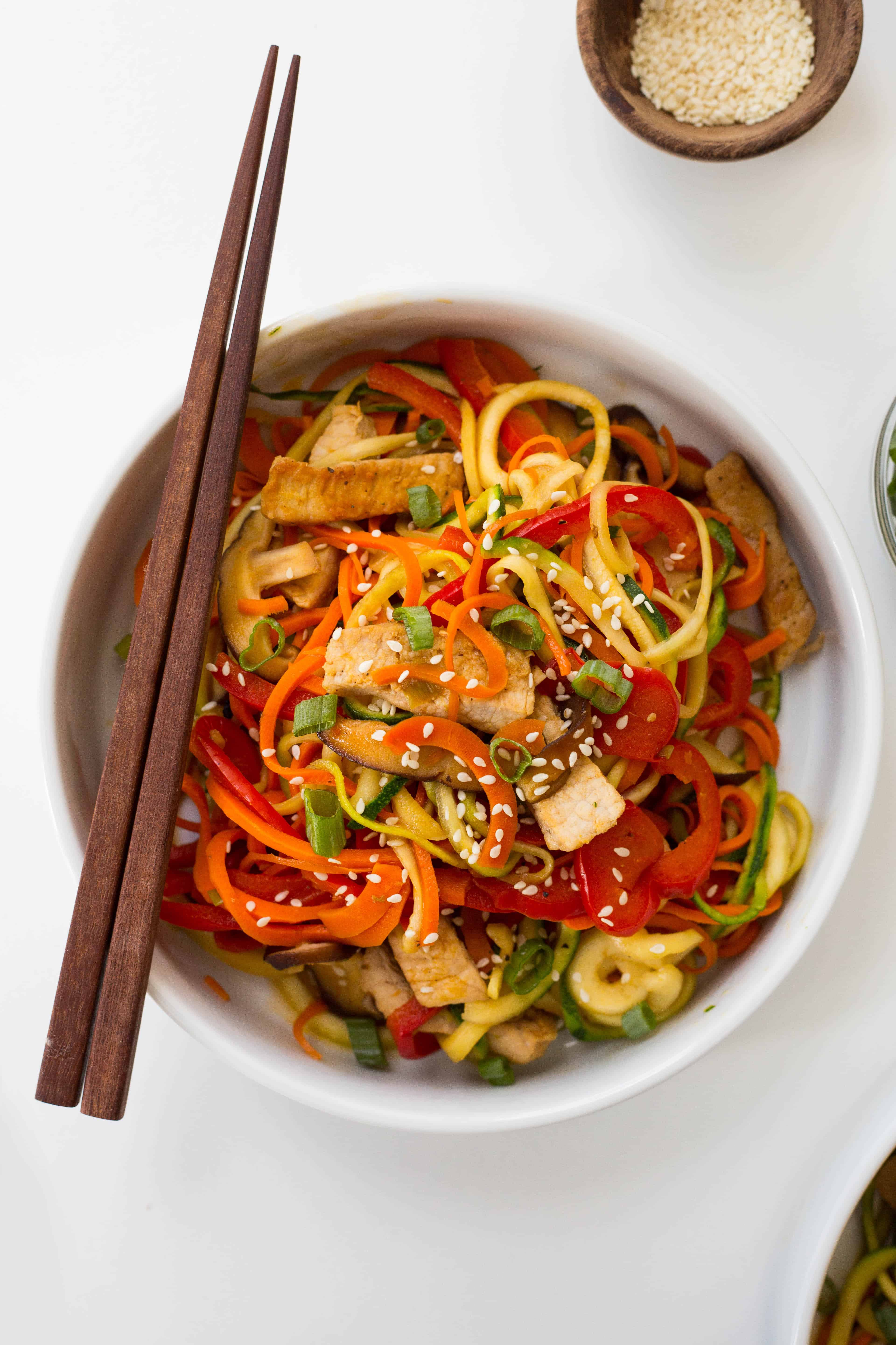 Pork Lo Mein with Zucchini Noodles