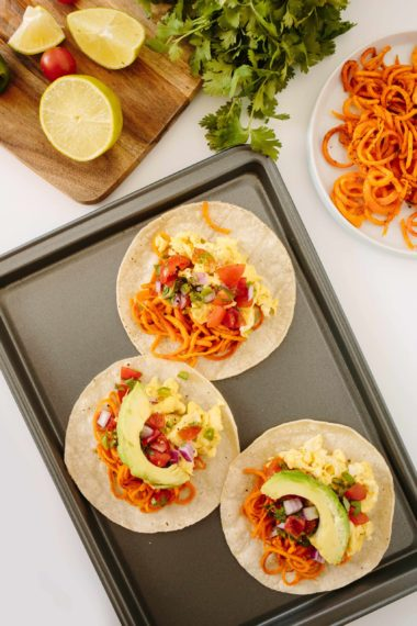 Mexican-Style Breakfast Tacos with Spiralized Sweet Potatoes