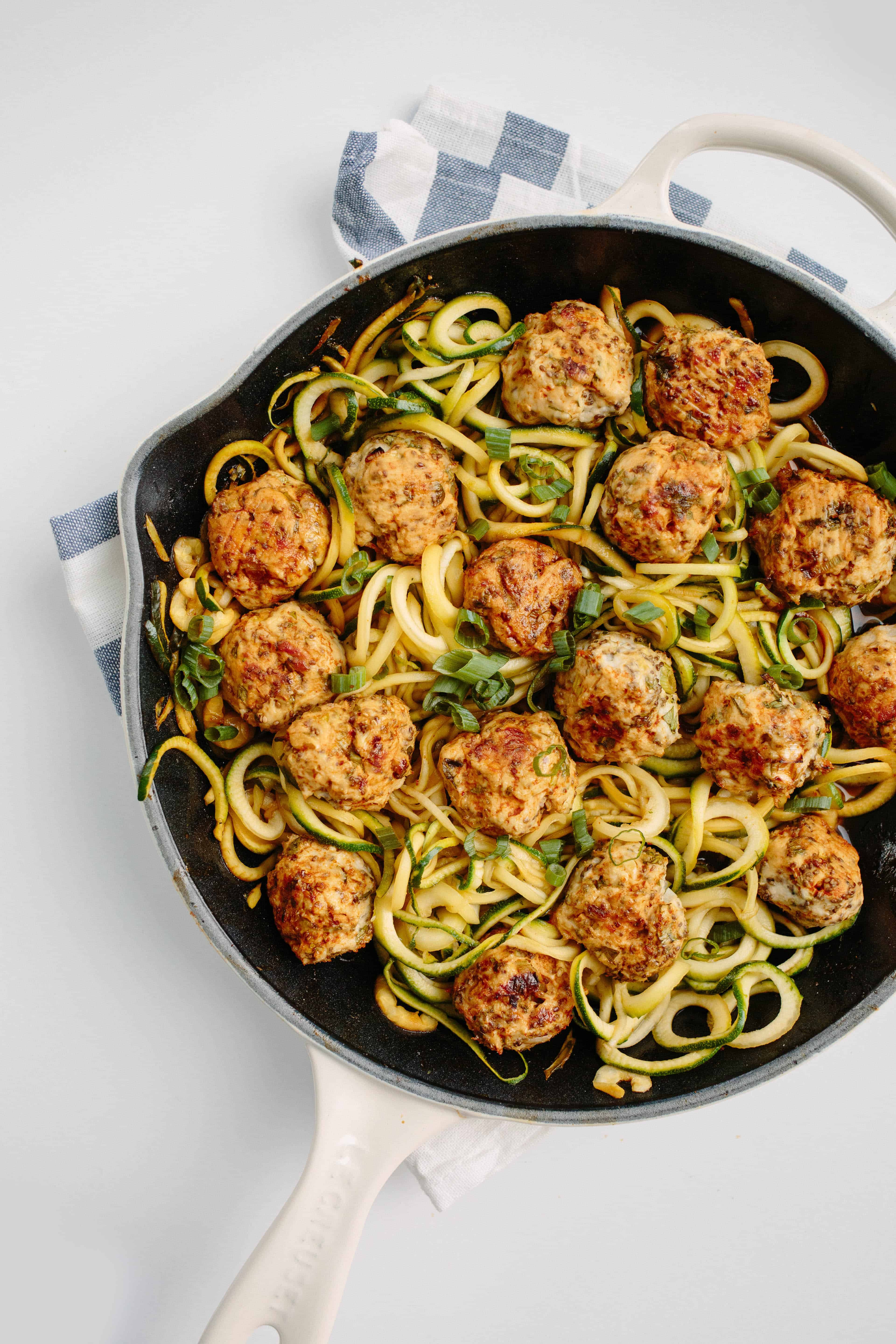 Thai Chicken Meatballs with Zucchini Noodles