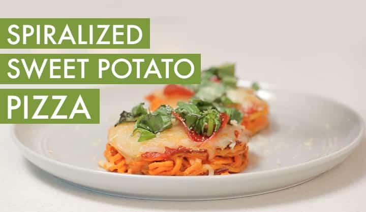 spiralized sweet potato pizza