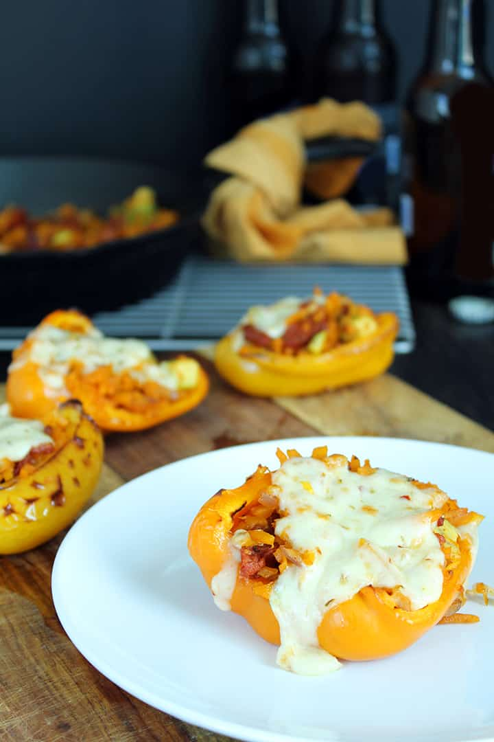 Chorizo, Avocado & Butternut Squash Stuffed Peppers