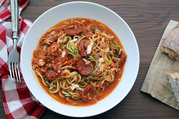 pepperoni pizza zucchini spaghetti