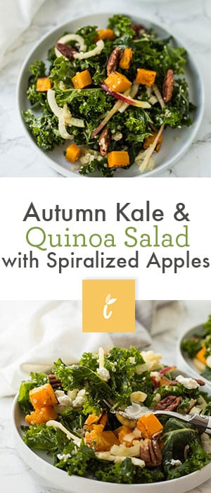 Autumn Kale & Quinoa Salad with Spiralized Apples