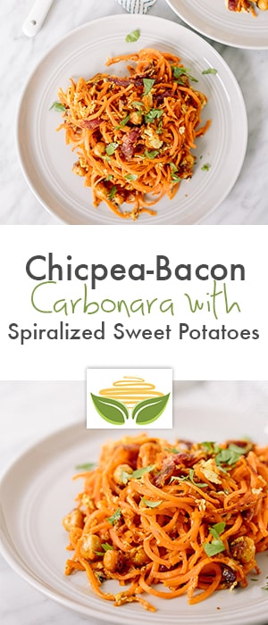 Chicpea-Bacon Carbonara with Spiralized Sweet Potatoes