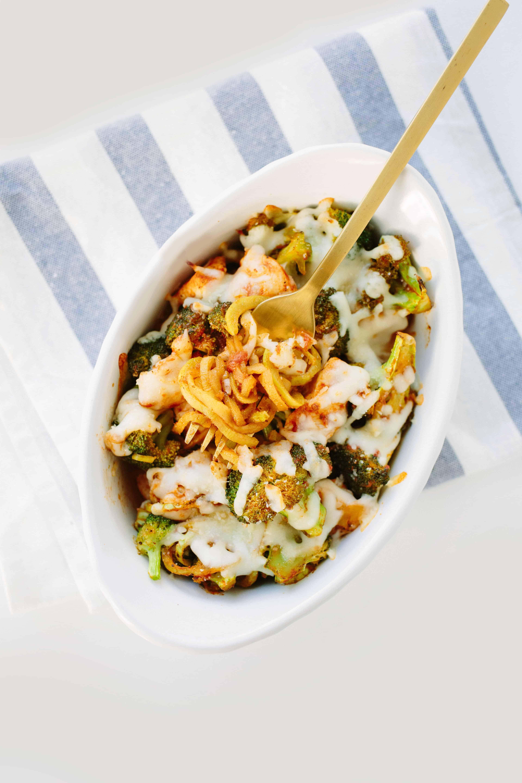 Spiralized Broccoli and Chicken Cheesy Marinara Bake