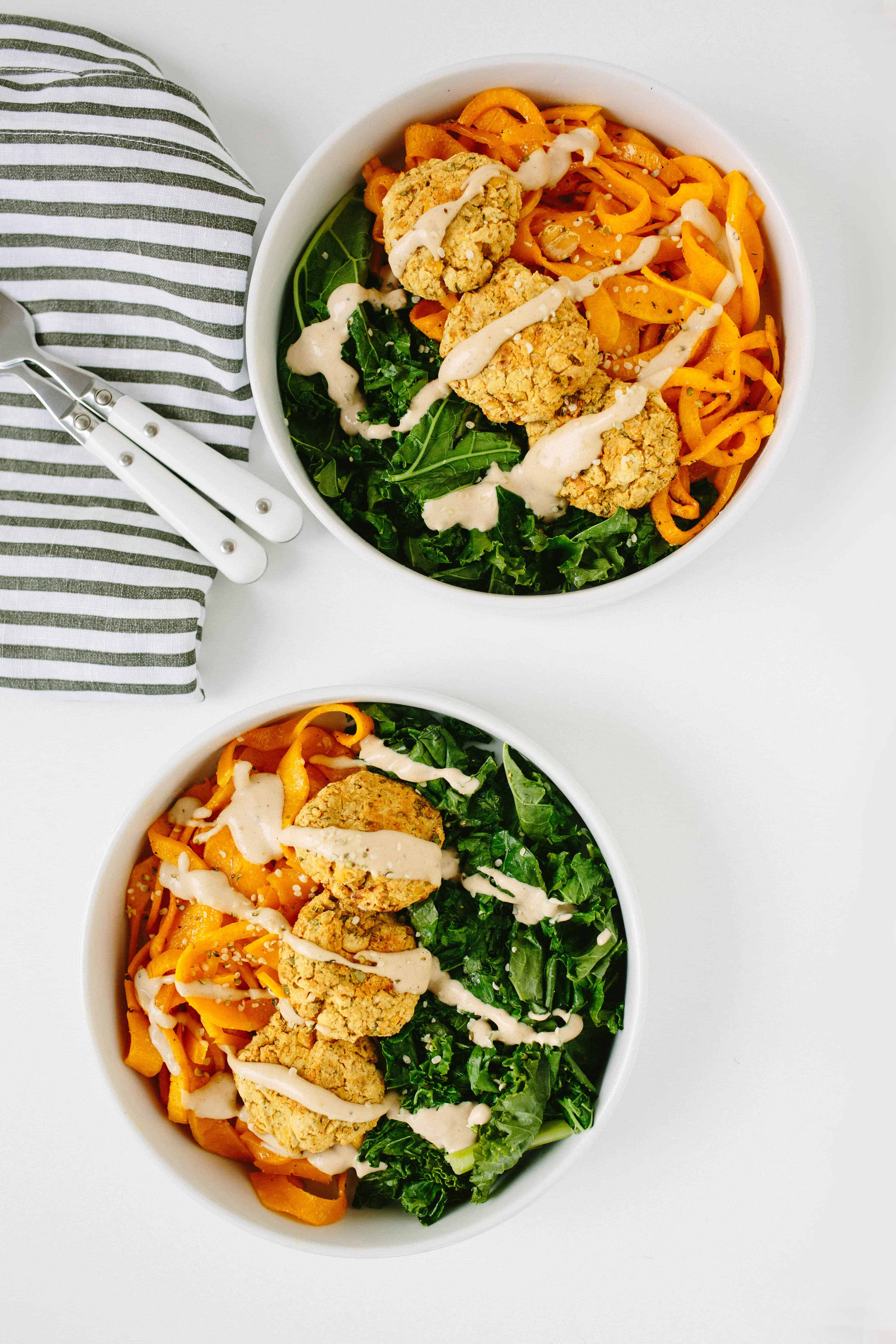 Kale and Falafel Bowls with Spiralized Butternut Squash