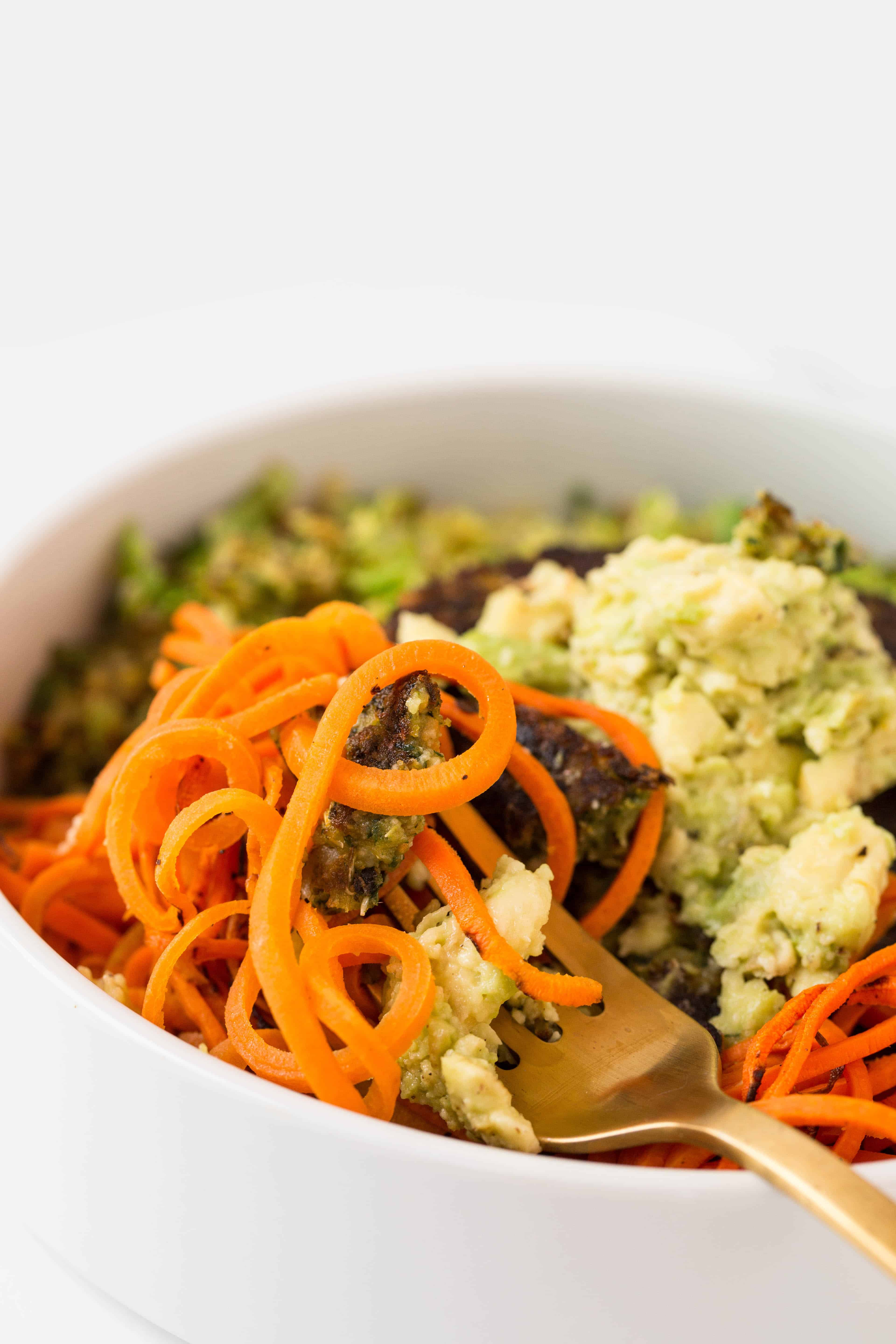 Veggie Burger Bowl with Spiralized Carrots