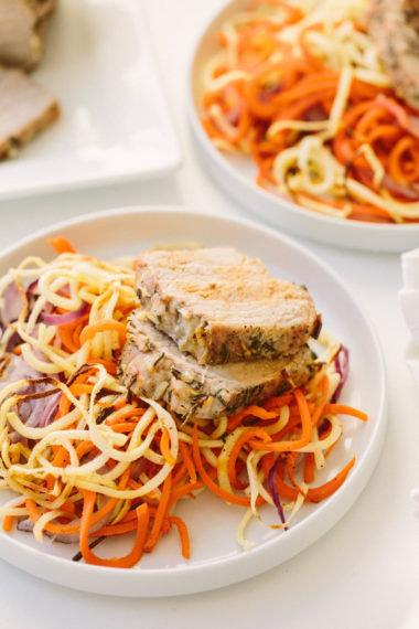 Pork Loin Roast with Spiralized Root Vegetables