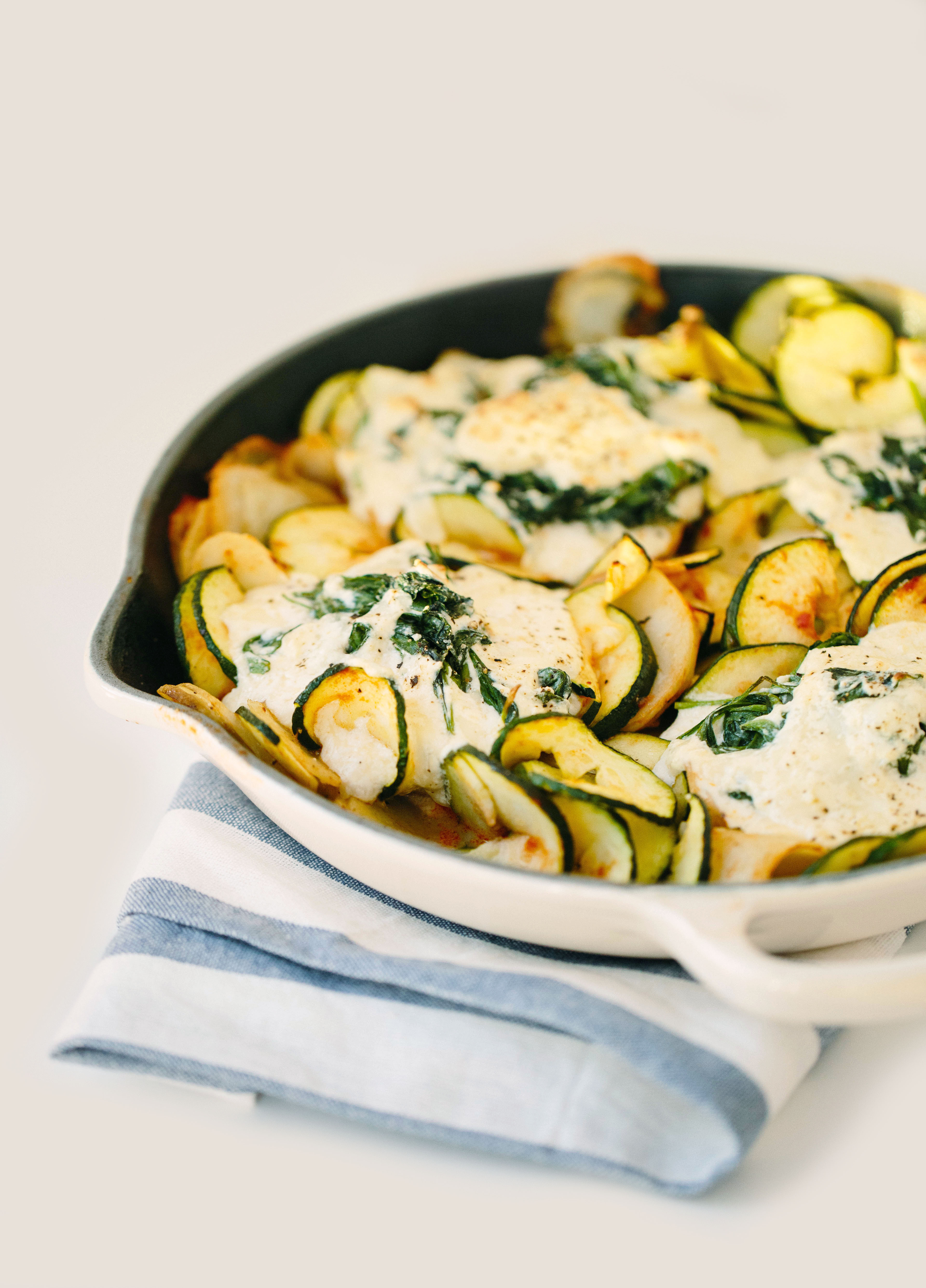 Deconstructed Spinach Manicotti with Spiralized Potatoes and Zucchini