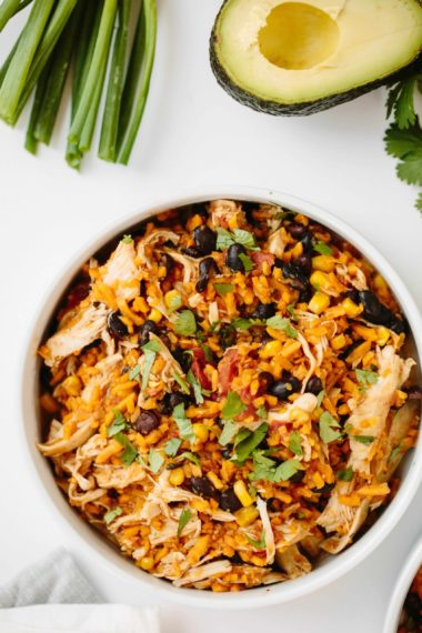Slow Cooker Chicken Burrito Bowls with Spiralized Sweet Potato Rice