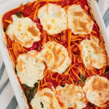 Baked Rutabaga Spaghetti and Mozzarella