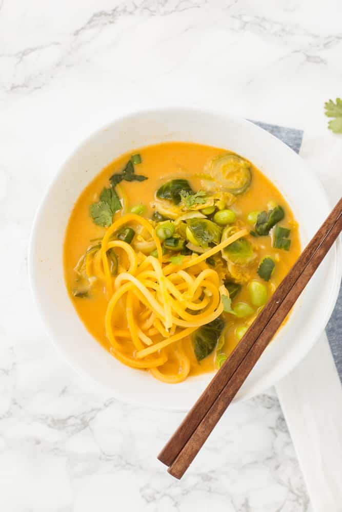 VEGAN RED COCONUT CURRY WITH BRUSSELS SPROUTS, EDAMAME AND SPIRALIZED RUTABAGA
