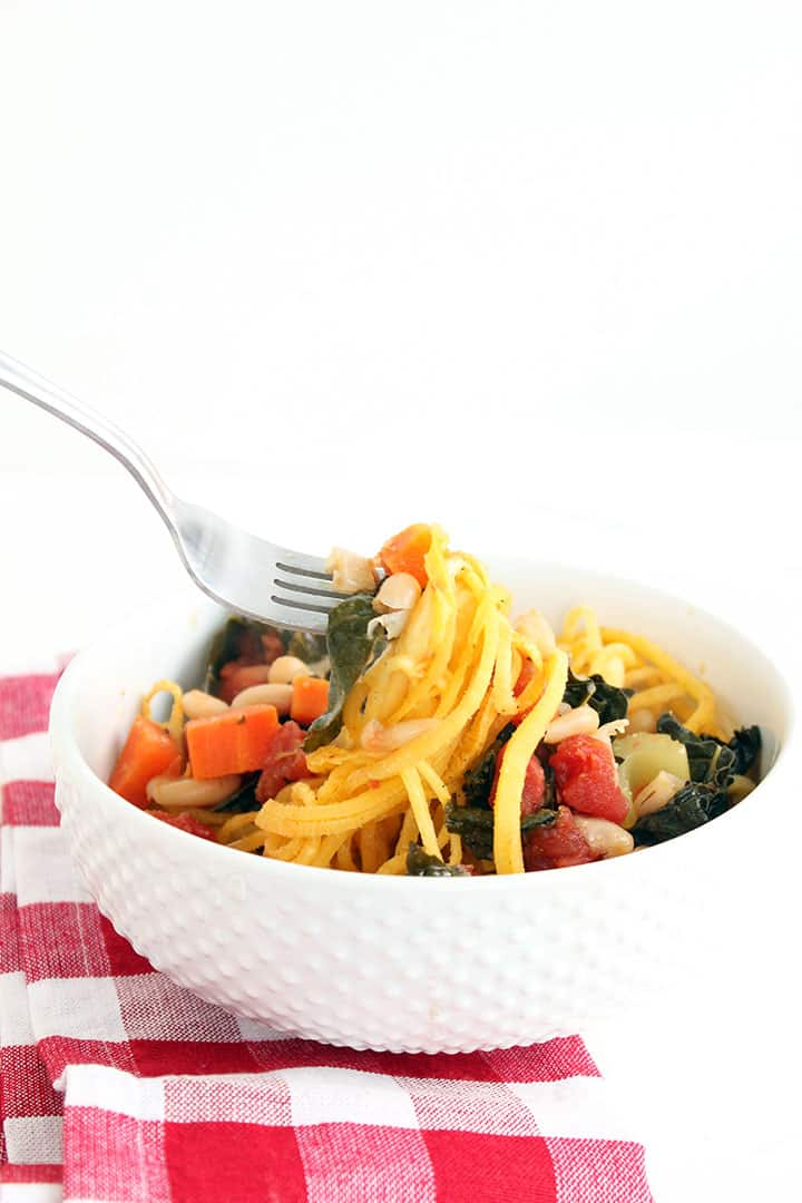 WINTER KALE VEGETABLE STEW WITH RUTABAGA NOODLES
